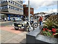 SJ9494 : Motorcycles parked on Hyde Civic Square by Gerald England