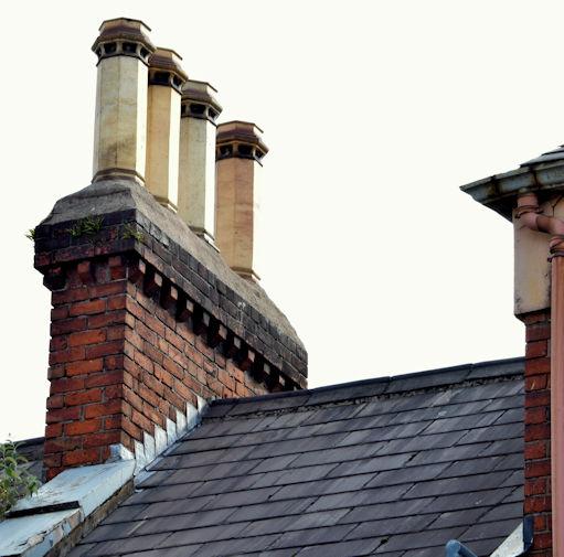 Chimney pots, Gt Victoria Street, Belfast (August 2015)