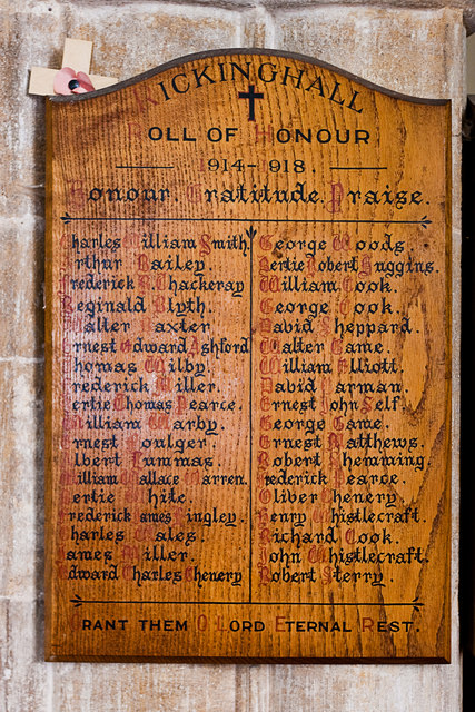 Roll of Honour I, Rickinghall Inferior church