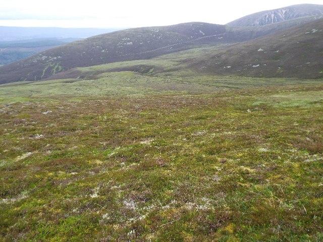 Looking down the north-west ridge of Druim nam Bo above Glenfeshie