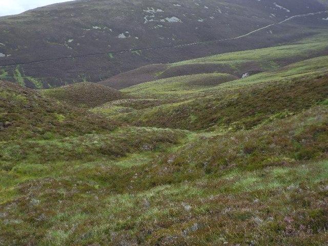 Boggy area forming re-entrant off ridge west of Druim nam Bo above Glenfeshie