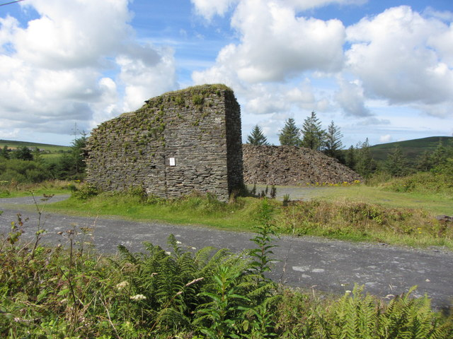 Old quarry building remains near Rosebush