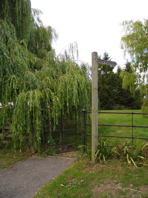 Footpath and gate with overhanging willow tree, Etton