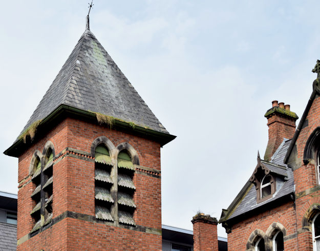 Tower, former St Malachy's primary school, Belfast (August 2015)