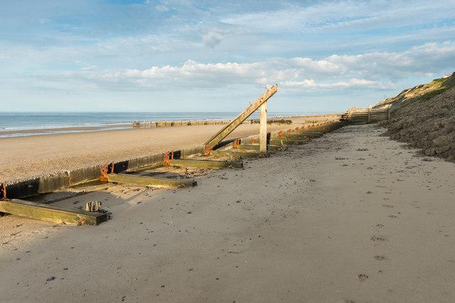 Sea defences below Trimingham