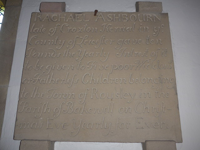 St Katherine, Rowsley: gift commemoration