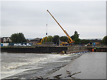 SX9291 : Trews Weir with construction work in progress by David Smith
