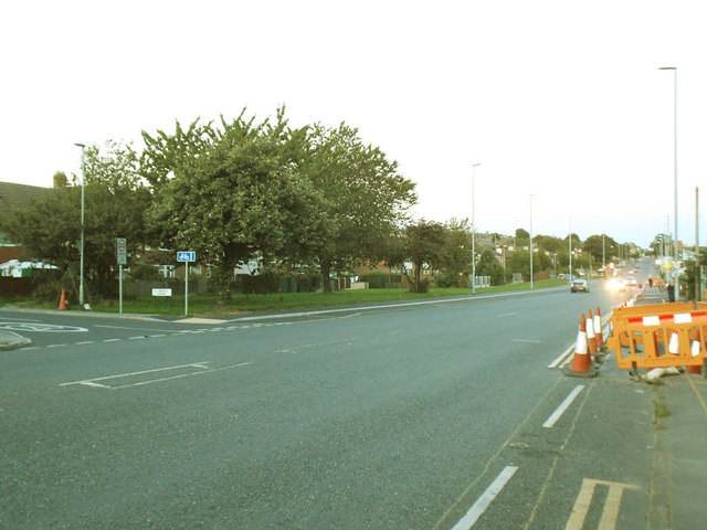 Stanningley Road with cycle route construction