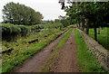 SO3700 : Path between river and churchyard, Llanbadoc by Jaggery