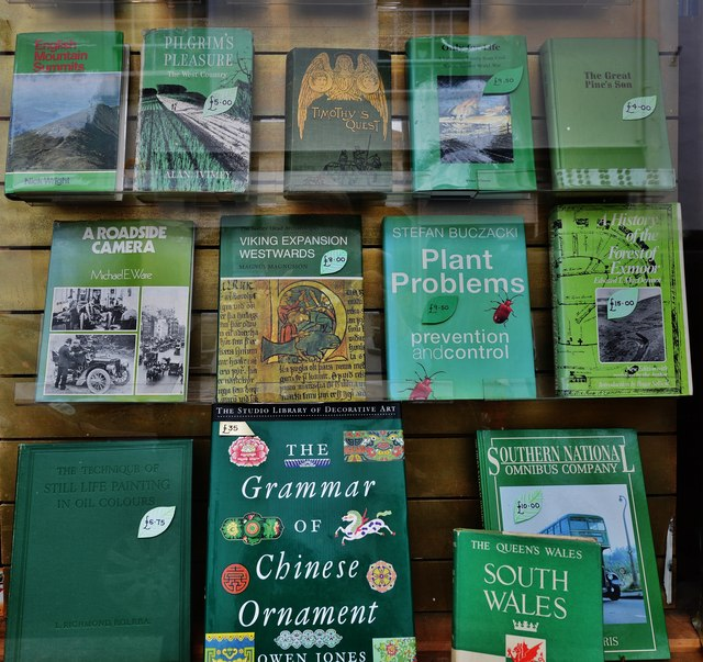 "Topsham: Fore Street: A ""green display"" in The Topsham Bookshop"
