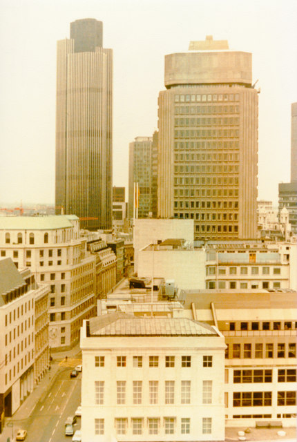 Northward view from top of The Monument, 1981