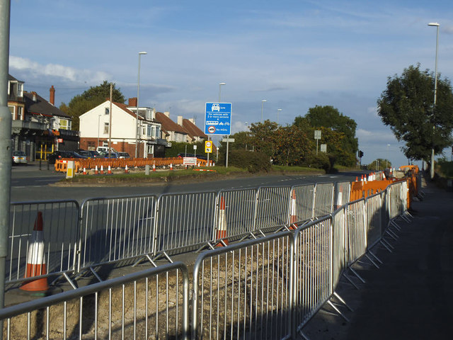 Cycle route construction, Stanningley Road