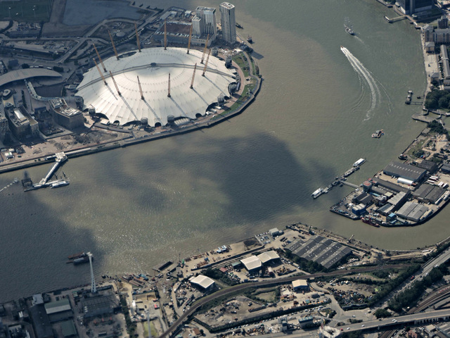 The O2 Arena from the air