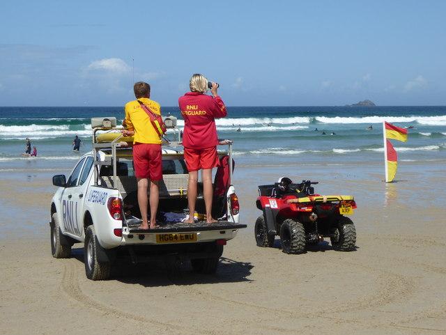RNLI lifeguards on duty on Sennen beach