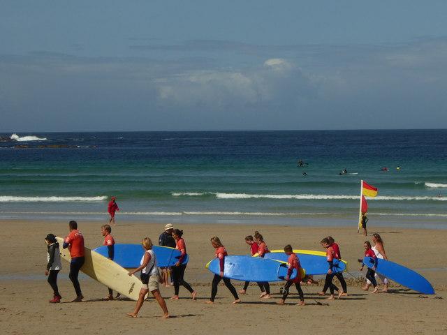 Surf school on Sennen beach