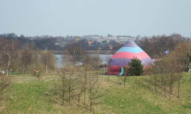 Beyond the inflatable whatever, a glimpse of Chasewater, Chasetown and Burntwood