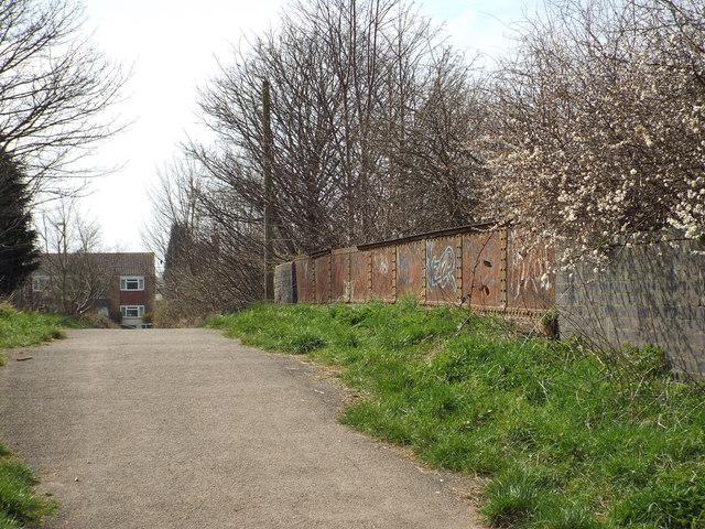 Rusting parapet of a railway bridge over a former line, Brownhills