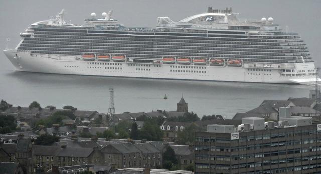 Cruise ship Royal Princess leaving Greenock