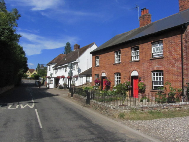 Chappel - Village street view N towards A1124