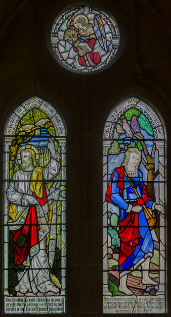 Stained glass window, All Saints' church, Harby