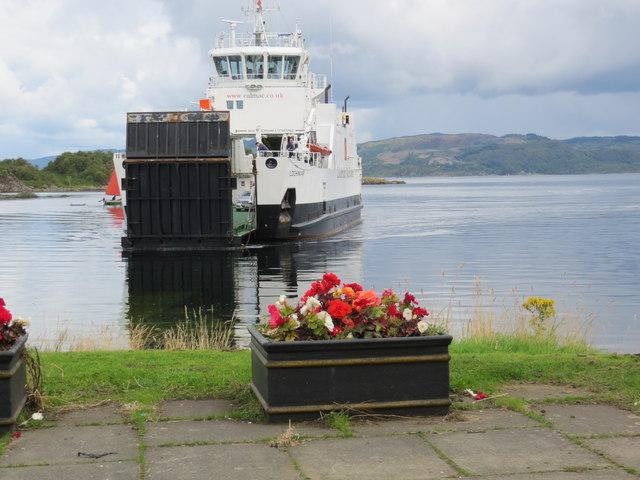 Cal Mac ferry Lochinvar approaching slipway at Tarbert