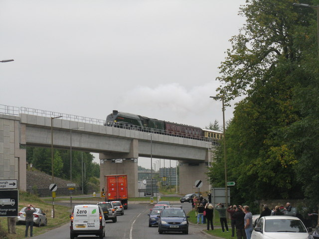 The Royal Train crosses Hardengreen Roundabout
