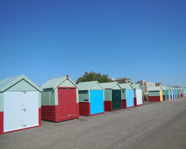 Beach huts by Hove Western Lawns