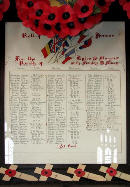 St Margaret's church, Upton (Roll of Honour)