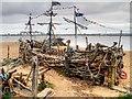 SJ3193 : New Brighton, The Black Pearl Driftwood Sculpture by David Dixon