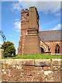 SJ4474 : Thornton-le-Moors War Memorial and St Mary's Church by David Dixon