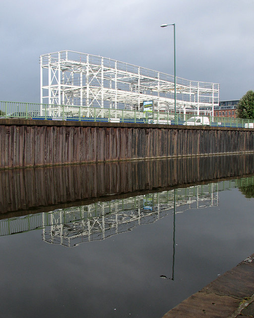 Steelwork reflected in the Nottingham Canal