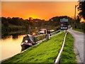 SJ6076 : River Weaver, Setting Sun at Dutton Wharf by David Dixon