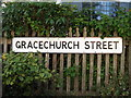 TM1763 : Gracechurch Street sign by Adrian Cable