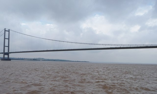 The east side of the Humber Bridge