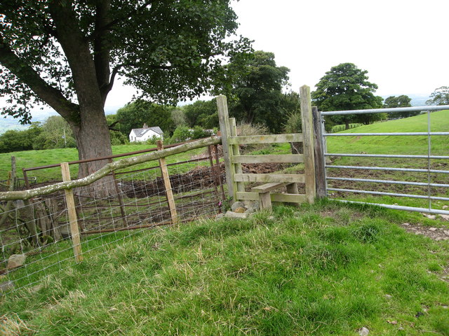 Stile on footpath passing Gelli