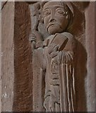 SO4430 : Kilpeck: The church of St. Mary and St. David : Carving of saint on south chancel arch column by Michael Garlick