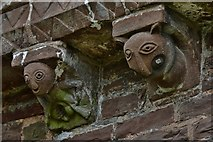 SO4430 : Kilpeck: The church of St. Mary and St. David: Sheela-na-gig corbel by Michael Garlick
