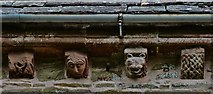 SO4430 : Kilpeck: The church of St. Mary and St. David: Four corbels on the south table by Michael Garlick