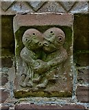 SO4430 : Kilpeck: The church of St. Mary and St. David: Corbel of two lovers who could be dancing by Michael Garlick