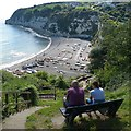 SY2389 : Taking in the view over the bay, Beer, Devon by Robin Drayton