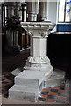 TL3042 : St Catherine, Litlington - Font by John Salmon
