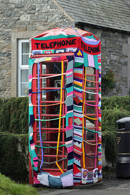 Yarn bombing in Ettrickbridge