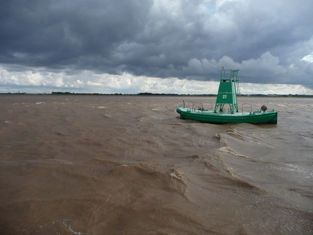 Humber float no 27 at low tide in stormy weather