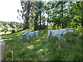 TF0505 : Cows in The Sculpture Garden at Burghley House by Richard Humphrey