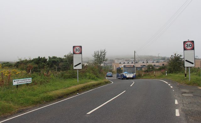 The Kilmacolm road dropping into Port Glasgow