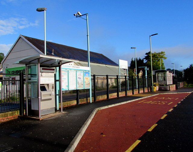 Taxi rank and ticket machine outside Newbridge railway station