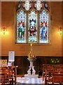 SK3140 : Font Cover and West Window, All Saints' Church Kedleston by David Dixon