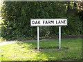 TM1065 : Oak Farm Lane sign by Adrian Cable