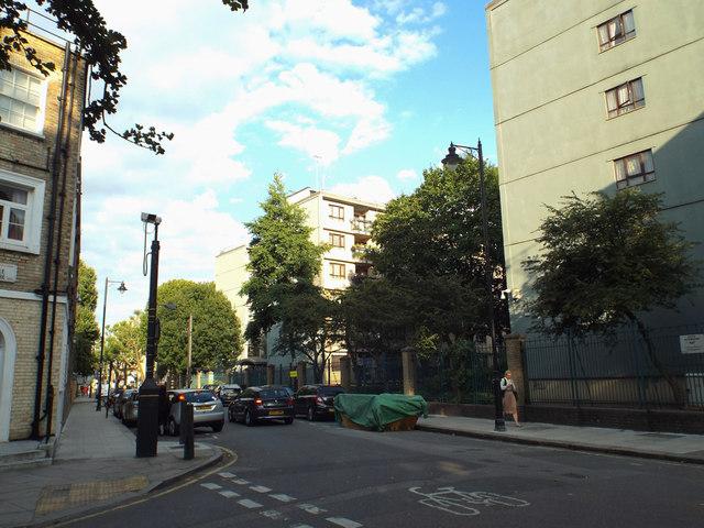 Blocks of flats, east end of Argyle Street, St Pancras area, London