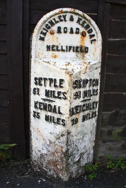 Milestone beside the Main Road through Hellifield